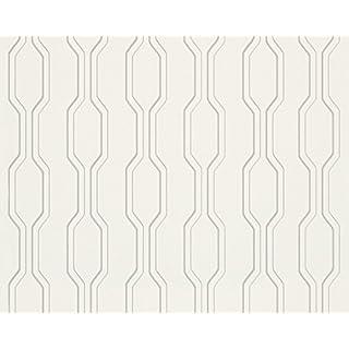 Architects Paper Vliestapete AP 2000 Design by F.A. Porsche Tapete Vertical puristisch 10,05 m x 0,53 m metallic weiß Made in Germany 303483 30348-3