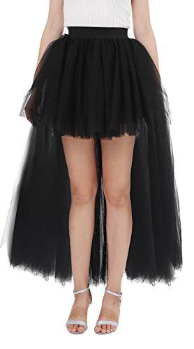 Kostüm Flamingo Halloween Selbstgemacht (Poplarboy Damen Langer Rock Elegant Elastische Taille Boho Lagenrock Seiten Schlitz Split Lange Maxirock Vintage Unterrock S-M)