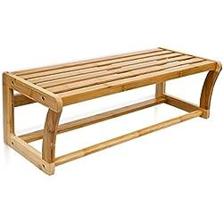 Relaxdays 10014070 Étagère Porte-serviettes en bambou H x l x P : 20 x 60 x 26 cm murale de salle de bain avec barre pour serviettes ou vêtements et surface de rangement en bois toilettes, nature