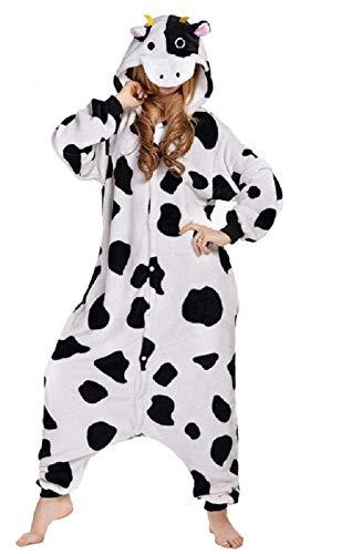 Canberries Damen Herren Jumpsuit Tier Onesie Einhorn Panda Pinguin Giraffe Pyjamas Jumpsuit Anime Cosplay Karneval Kostüm Schlafanzug Erwachsene (S, Kühe)