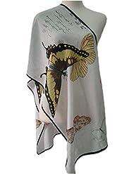 Prettystern P558 - 160cm Kunstdruck Seidenschal Japan Ukiyo-e Kunst - Kubo Shunman - Schmetterling