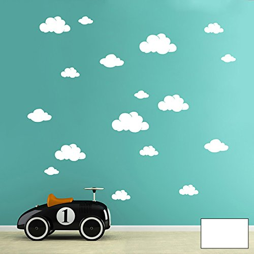 ilka parey wandtattoo-welt® Wandtattoo Wandaufkleber Wolke Wolken Wölkchen Himmel Set 5 Größen clouds M1756 – ausgewählte Farbe: *Weiß* – ausgewählte Größe: *M*