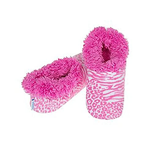 Snoozies Fleece Slippers Modern Animal: Zebra Leopard: Large (Size 6-7)