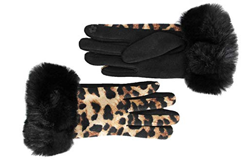 FERETI® Marrón Guantes Mujer Leopardo Puño Pelo Negro Táctiles Pantera Puños Invierno Cortos Gato Salvaje