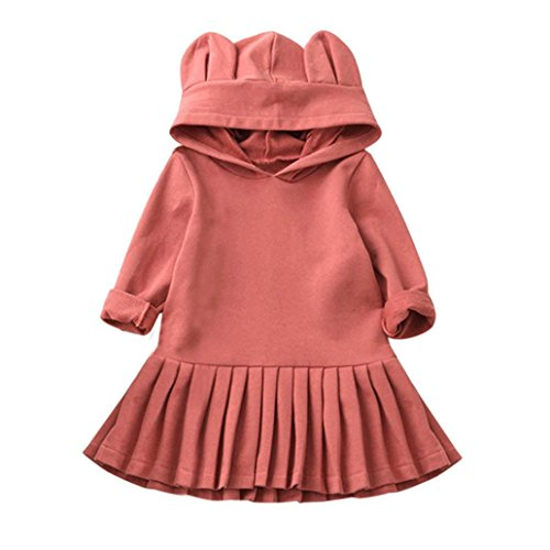 OverDose Baby Mädchen Kleidung Langarm Niedlich Kapuzen Kleid Party Prinzessin Kleider Falten kleid(6-7T,A-Rosa)