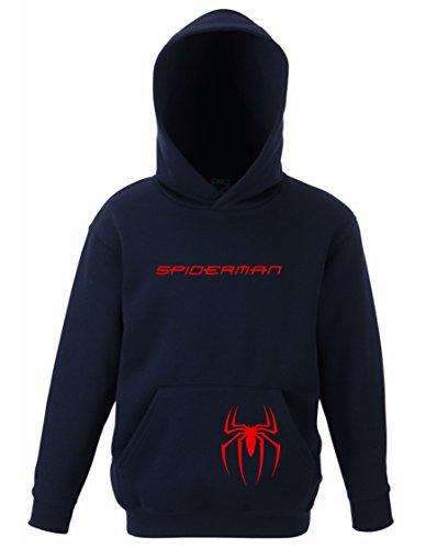 Felpa bambino con cappuccio spiderman (9-11 anni, blu scuro)