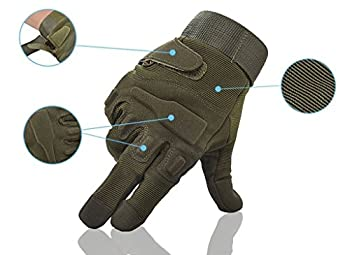 Fuyuanda Shooting Gloves Gloves Full Finger Gloves Hard Knuckle Outdoor Glove For Airsoft Paintball Pistol Hunting Riding Cycling C13 (Olive, Large) 1