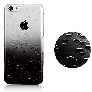 EnGive Translucent Steigung Farbe Regentropfen Skin Hart Plastik Hülle Cover Case für Apple iPhone 5C 2013(Schwarz)
