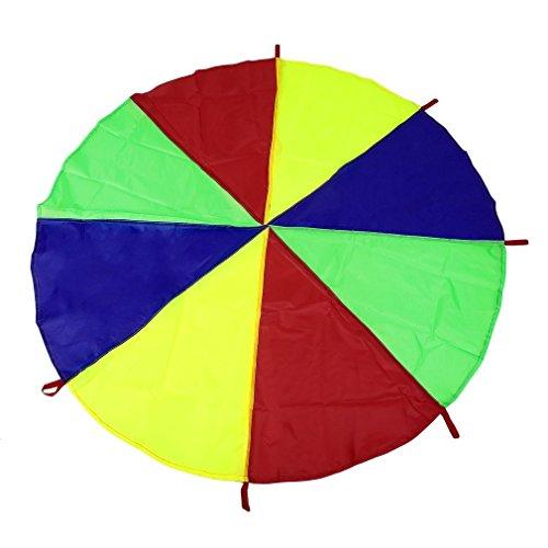 Leoboone Kinder Kinder Spielen Regenbogen Fallschirm 8 Griffe Outdoor-Spiel Übung Sport Spielzeug für Kinder im Kindesalter (Outdoor-sport-spiele Für Kinder)