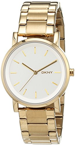 DKNY NY2343 - Reloj de cuarzo con correa de acero inoxidable para mujer, color dorado