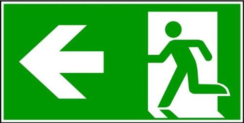 LEMAX® Schild Alu Fluchtweg links und Richtungspfeil ISO-E005/-E001 nachleuchtend 150x300mm