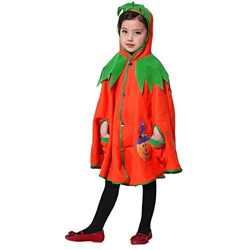 WFRAU Halloween Party Cosplay Kostüm für Mädchen Jungen,Kinder Kürbis Drucken Mit Kapuze Taste Taschen Kap,Mantel Outfit Leistungskleidung,Unisex Kleinkind Jumper Strampler -