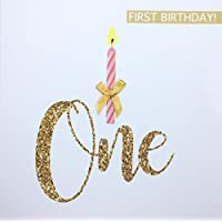 1st Birthday Card for Baby Girl, one Candle Hand Finished with a Gold Bow, First Birthday Card, 1 yr Old