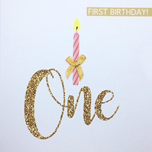 1st Birthday Card For Baby Girl One Candle Hand Finished With A Gold Bow First 1 Yr Old