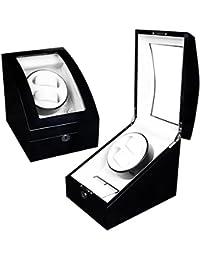 Lindberg & Sons Estuche con rotor para 2 relojes automáticos y 3 compartimentos adicionales Madera negra Cuero sintético Luces LED - UB8077blcr