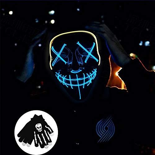Kungfu Mall 1 máscara Halloween luz LED 1 par Guantes
