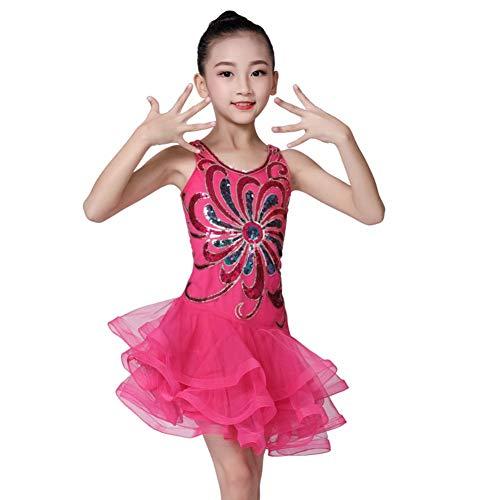 Mädchen Kinder Latin Dance Dress, Mädchen Sleeveless Funkelnde Pailletten Tanzen Latin Rumba Salsa Kleid Mesh Ballroom Dancewear Tutu Kleid