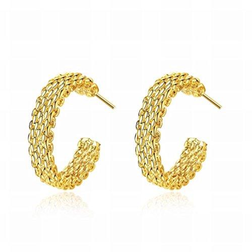 YZQ Ohrstecker,EIN Paar Damen Mode Gold Gewebte Website Ohrringe Schmuck/Zirkonia / Hypoallergen/Klein und Exquisit,EIN