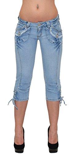 by-tex Caprihose Damen Capri Hose Damen Bermuda Shorts Jeans Capri in 10 aktuellen Designs H11