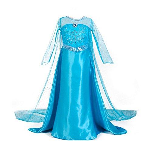 URAQT Eiskönigin Prinzessin Kostüm Kinder Glanz Kleid Mädchen Weihnachten Verkleidung Karneval Party Halloween (Einfache Mädchen Halloween Für Kostüme)