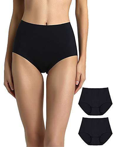 High-cut-full Kurzen Höschen (Vanever Damen Slip ohne VPL, 2er-Pack, Full Slip, ohne Panty, unsichtbare hohe Taille Unterhose - Schwarz - X-Groß)