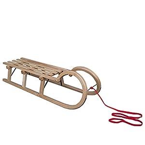 ScSPORTS 115 cm Schlitten Hörnerschlitten mit Ziehseil Holzschlitten Rodel
