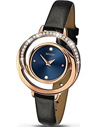 Seksy By Sekonda Ladies Stone Set Watch Blue and Rose Gold Face, Black Strap 2142