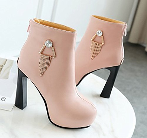 Franges Bottines Talon Haut Boots Plateforme Chic Femme Rose Low Aisun HAwnqag1E