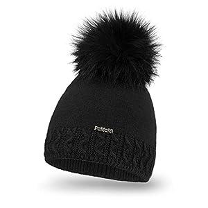 PaMaMi Damen Warme Mütze | Herbst und Winter | Acryl und Wolle | Strickmütze Beanie mit Fellbommel | Kopfumfang 55-58 cm