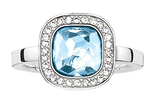 Thomas Sabo Damen-Ring Glam & Soul 925 Sterling Silber Zirkonia weiß blau Gr. 54 (17.2) TR2029-059-1-54