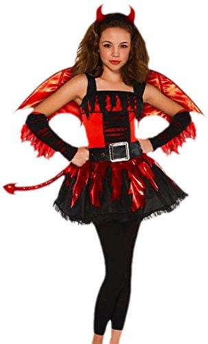 Halloweenia - Mädchen Kostüm Dare Devil Teufel Teenager, 12-13 Jahre, S, Mehrfarbig