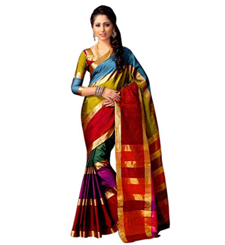 Miraan Women's Cotton Saree With Blouse Piece (Namolailla_Multicolor)