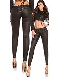 6f7e49bfa509ee Koucla Sexy Leather Look Trousers with Studs and Lacing. UK 8.10.12.14. EU