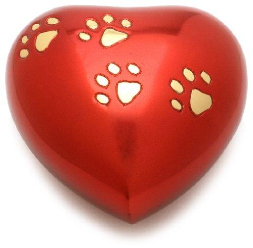 Urns UK - Urna de corazón para cremación de mascotas, color rojo, 12,7 cm