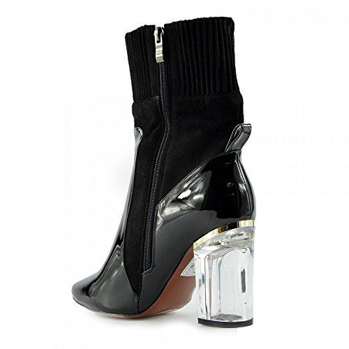 Kick Footwear - Donna Stivaletti Chiaro Perspex Blocco Tacco Alto Scarpe Di Moda Festa Nero - NF024