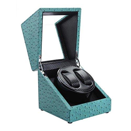 DZW Strauß Leder Uhr Winder Speicher Automatik Uhr Motor Box Switch Low Noise Anti-Magnetisierung Low Power 6 Farben zur Verfügung, ein Bestes Weihnachtsgeschenk für Männer , 2+0 green ostrich skin (Leder Skin Ostrich)