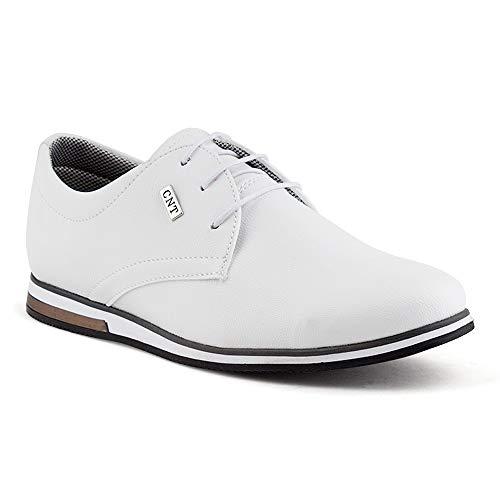 Fusskleidung Herren Business Schnürer Casual Halb Sneaker Schuhe Anzugschuhe Weiss EU 45 - Oxford-schuhe Weiß