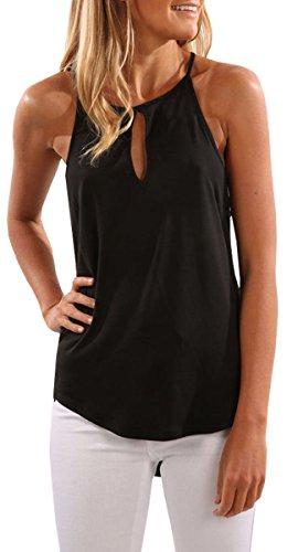 BLACKMYTH Damen Summer ohne Arm Casual Bluse Einfarbig Neckholder Strap Tank Tops T-Shirt Schwarz Small (Armee Tank-real)