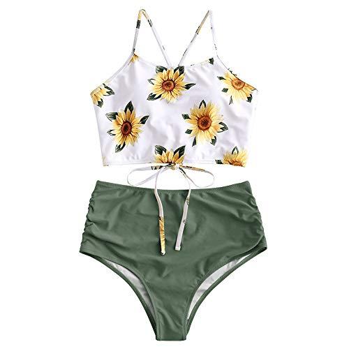 ZAFUL Damen Sexy Sonnenblume Drucken Schnüren Criss Cross Hoher Schnitt Bikini Set Badeanzug (S, GRÜN 2) - Roxy-kleine Mädchen-badeanzüge