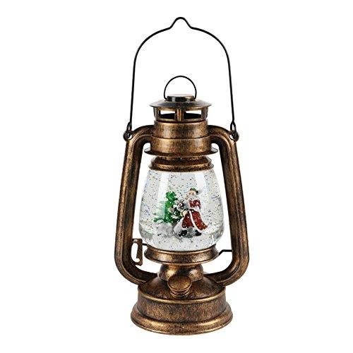Spetebo Deko LED Petroleumlampe mit Glitter, Weihnachtsmann, Tannenbaum - Batteriebetrieben - warmweiße LED und leiser Motor zum Glitter aufgewirbelt