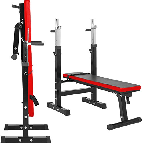 TNP Accessories Weight Bench Shoulder Folding Home Heavy Duty Multiuse Barbell Flat Exercise Gym - (XQBH-9)