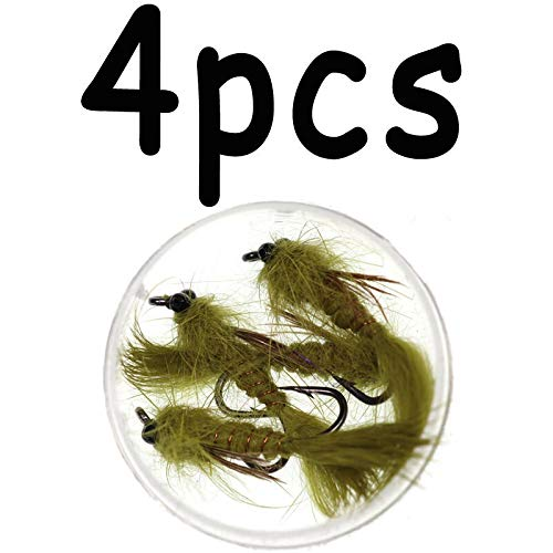 L-MEIQUN, 4pcs # 10 Olive Living Dragon Fly Nymphen-Streamer for Forellen-Fliegen-Angelgerät-Köder-Köder (Color : 4pcs) -