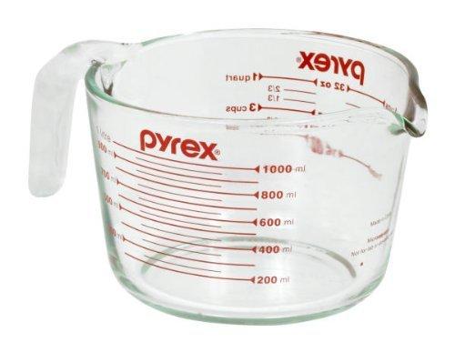 Pyrex 6001076 Messbecher für 4 Becher, Glas, transparent, Rot - 4 Glas Messbecher