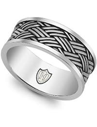Hoxton London Herren-Ring Bambus gewebte Muster Band oxidierten 0.48.4
