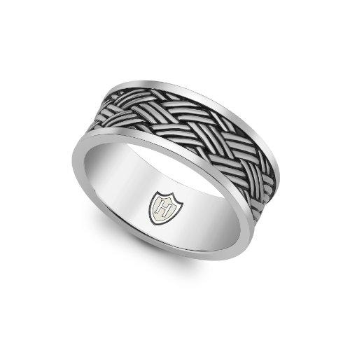 Hoxton London Herren-Ring Bambus gewebte Muster Band oxidiert Gr.64 (20.4) 0.48.4200 -