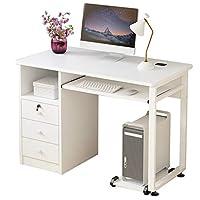 مكتب للكمبيوتر مناسب للاستخدام كطاولة كتابة بجزء تخزين، بتصميم عصري بسيط مناسب للدراسة بالمنزل، وللاستخدام في الكتابة وفي غرفة النوم مزود بدر، سهل التركيب