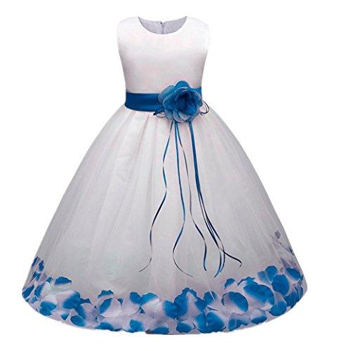 tlich Kleider Longra Blumenmädchenkleider Hochzeitskleid Maxikleid Brautjungfern Kleid Prinzessin Abendkleid Party Maxi Kleid Spitze Festzug Cocktailkleid (Blue, 140CM 6Jahre) (Kinder Outfit Für Die Hochzeit)