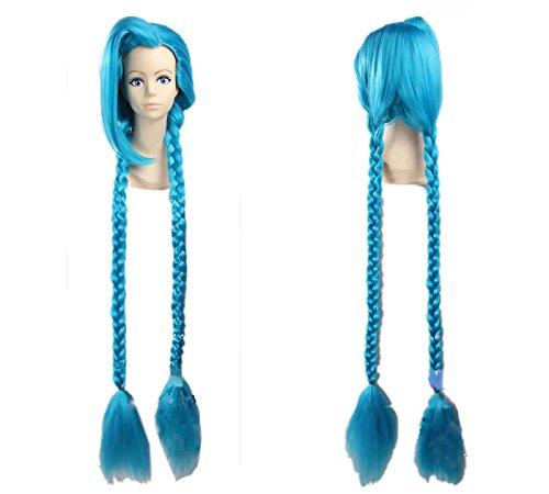 Halloween Kostüm LOL Jinx Spiel Cosplay Perücke 130cm Lang Blau Haar Zubehör für Partei