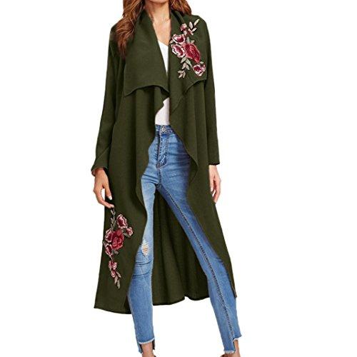 VENMO Frauen New Floral Cardigan Applikation Mantel Open Front Jacket Long Sleeve Tops Langer Verschleiß Womens beiläufiger mit Jacken Mantel langer Gürtel Sweatshirt Oberseiten (L, Army Green) (Green Cap Womens Sleeve T-shirt)