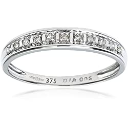Naava-Bague Femme - Or Blanc 375/1000 (9 Cts) 1 Gr - Diamant 0.005 Cts - T 50